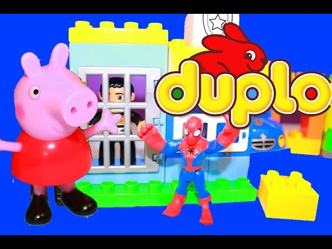 Peppa Pig Toy Cars LEGO DUPLO Spiderman Toys Toy Review Police Car Superheros