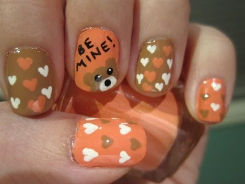 Teddy Bear Valentines Day Nails