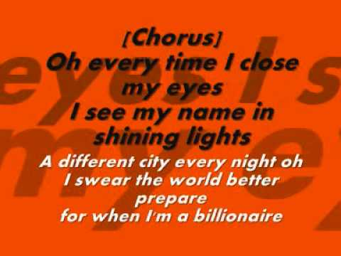 I Wanna Be A Billionaire - Lyrics video