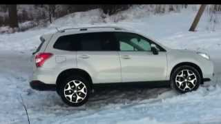 Subaru Forester winter climb hill and easy off-road