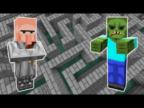 Зомби И Житель В Лабиринте! - Эксперимент Minecraft
