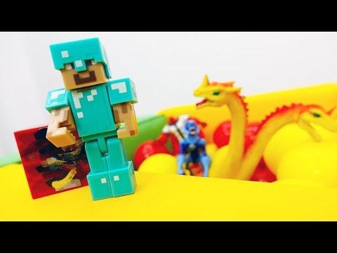 Видео с игрушками #Майнкрафт. Егор и Стив исследуют остров мобов. Кто здесь обитает? ИгроБой
