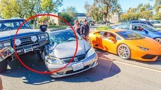 CAR CRASH AT A CAR MEET!!!! *FAIL*