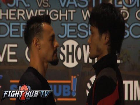 Robert Guerrero vs Yoshihiro Kamegai final press conference highlights  face off