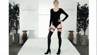 Skinny Model Wears Fashionable Suspender Tights