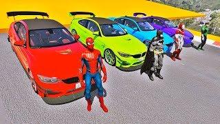 CARROS BMW M4 com HOMEM ARANHA e SUPER HERÓIS! Desafio com Super Carros Esportivos - IR GAMES