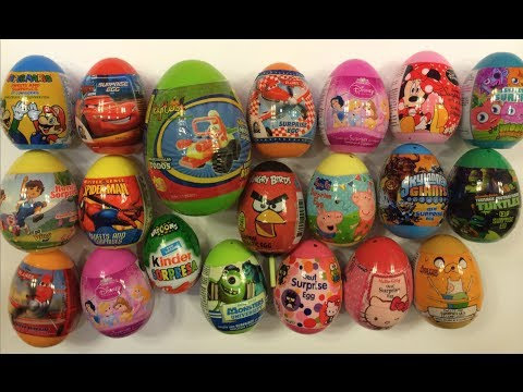 25 Surprise Easter Eggs Kinder Peppa HelloKitty Giant AngryBirds Moshi Dora Disney Marvel Spiderman