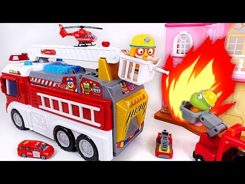 Pororo Fire Truck Transform! Pororo fire station, pororo transforming fire truck play - PinkyPopTOY