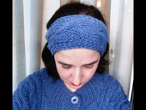 """Вязание повязки на голову с узором """"коса"""""""