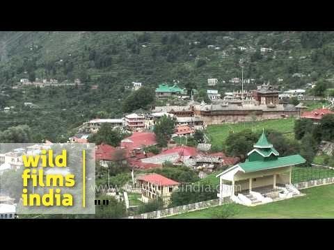 Colourful buildings on hills : Sarahan town, Himachal Pradesh
