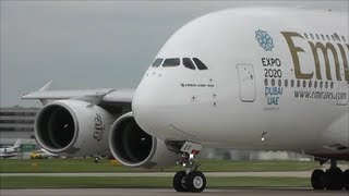 Emirates Airbus A380-861 Close Up Departure, Manchester Airport!