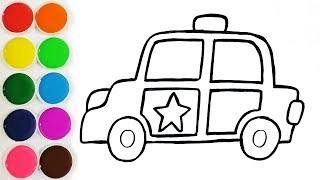 Glitter Police Car Coloring Pages and Drawing For Kids, Toddlers | Cars For Kids