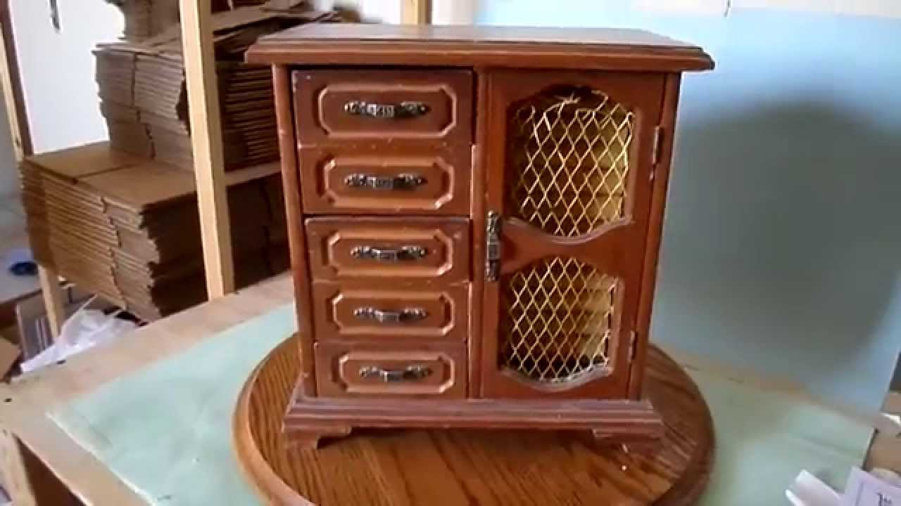Vintage Wooden Jewelry Music Box Cabinet Drawers Hidden