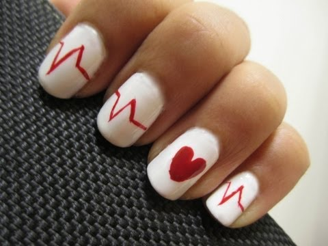 Valentine's Day Heartbeat Nails