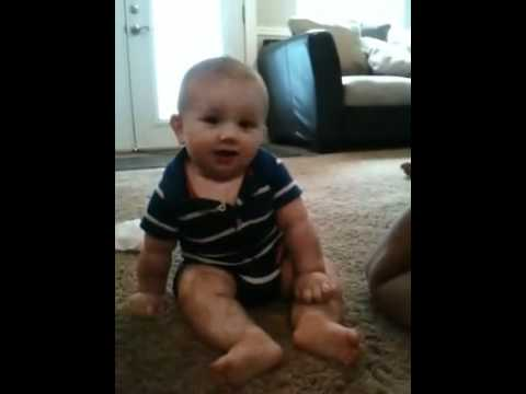 Baby laughing at funny sound!