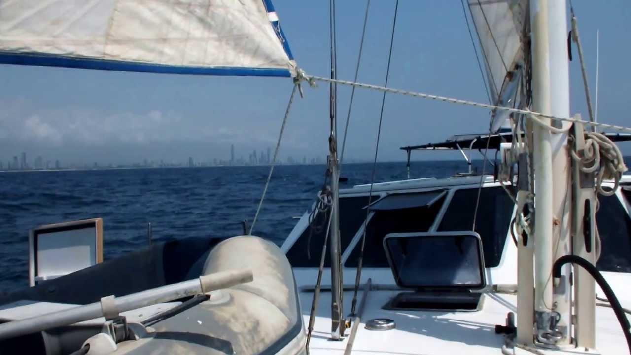 Laura Dekker Sailing Minicat - YouTube