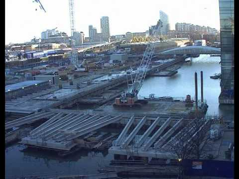 Crossrail time lapse video: Draining of North Dock for Crossrail Canary Wharf station
