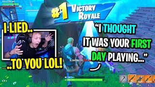 I Pretended To Be The Biggest Fake Noob And Carried Kids To A Win On Fortnite