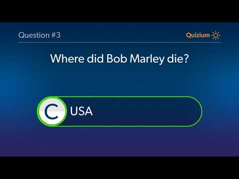 Bob Marley Quiz   Where was Bob Marley born? and more questions