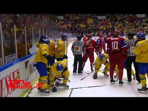 Brawl Sweden U20 vs Russia U20 (Robert Hagg, Jesper Pettersson vs Nikita Zadorov, Andrey Mironov)