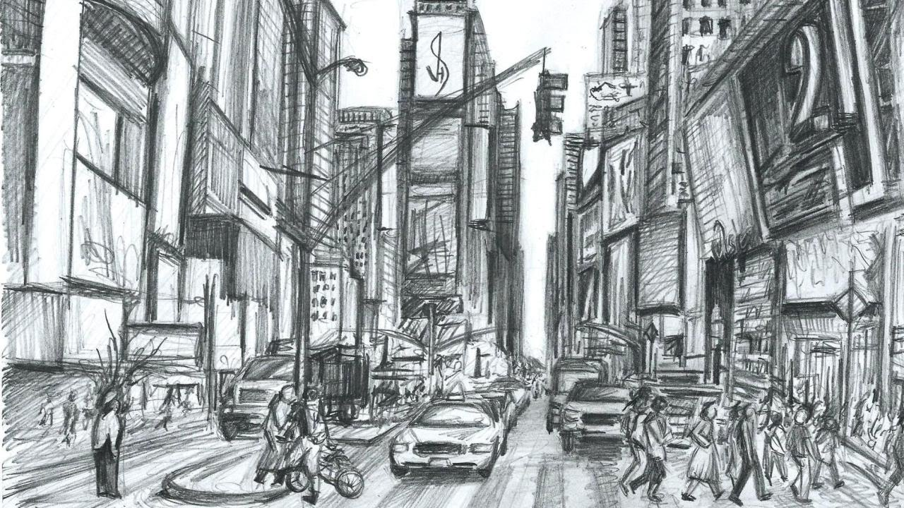 Line Drawing Nyc : Watch me draw times square new york quick sketch youtube