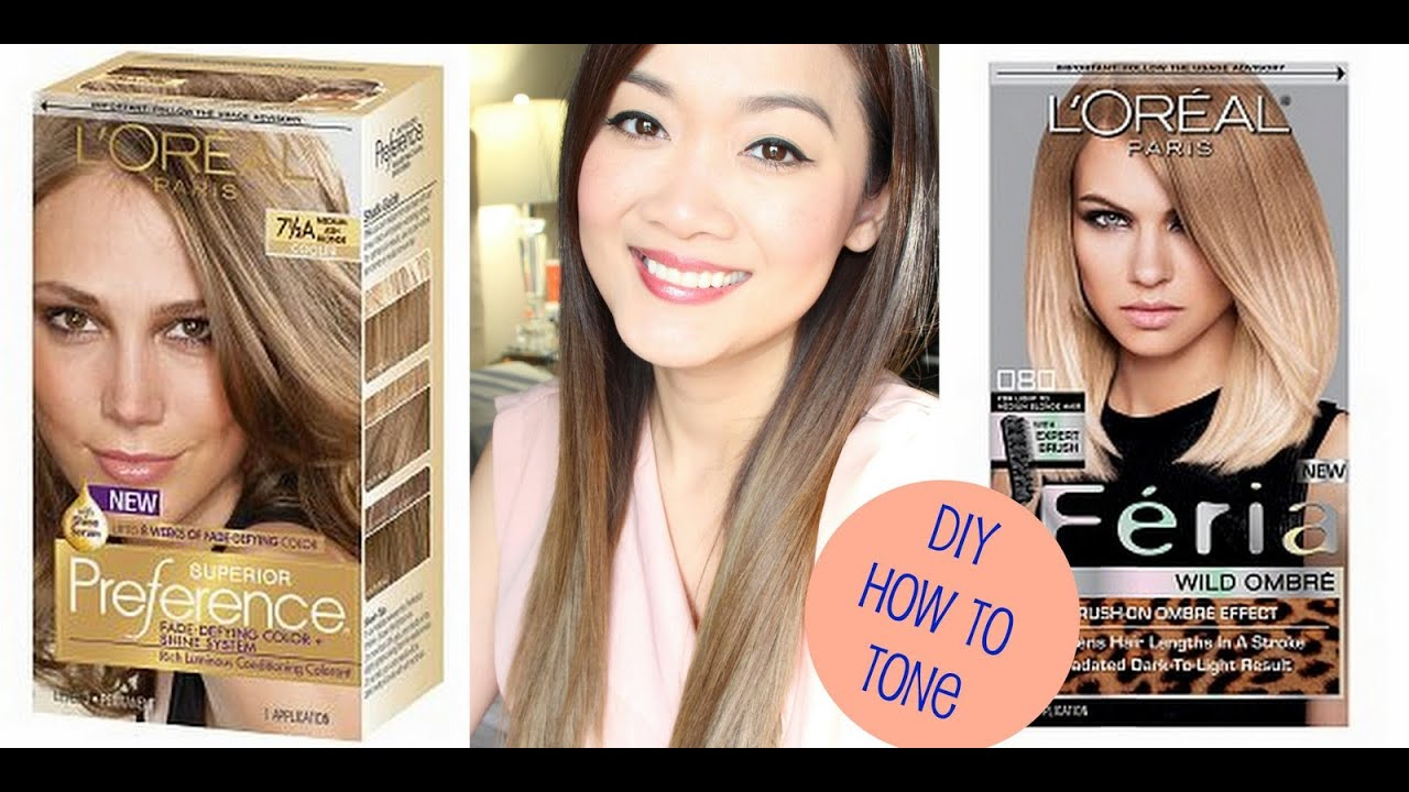 Diy How To Tone Brassy Hair After Using Loreal Feria