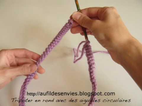 Tricoter en rond avec des aiguilles circulaires youtube - Tricot aiguilles circulaires magic loop ...