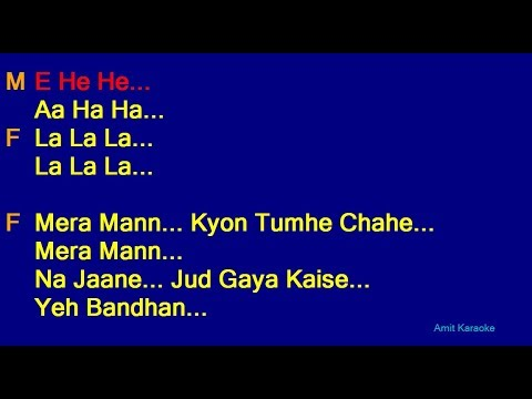 Mera Mann Kyon Tumhe Chahe - Udit Narayan Alka Yagnik Duet Hindi Full Karaoke with Lyrics