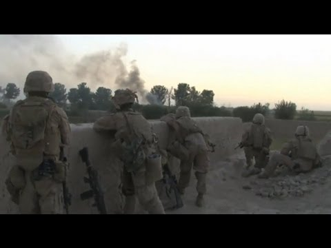 U.S. Marines and Afghan National Army Soldiers move to establish a patrol base in Afghanistan
