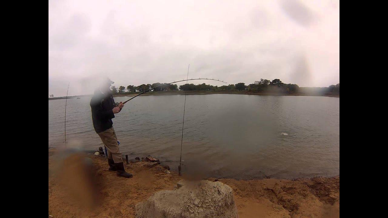 Big blue catfish lake lewisville bank fishing youtube for Lake lewisville fishing