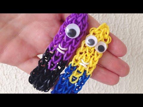 Como Fazer Pulseiras De Elástico: Pulseira Dos Minions #loombands (sem Tear) Minion Bracelet video