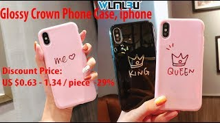 Review |Glossy Crown Phone Case, iphone X Case, iphone 8 Plus 6 6S 7 Plus KING QUEEN Soft Back Cover