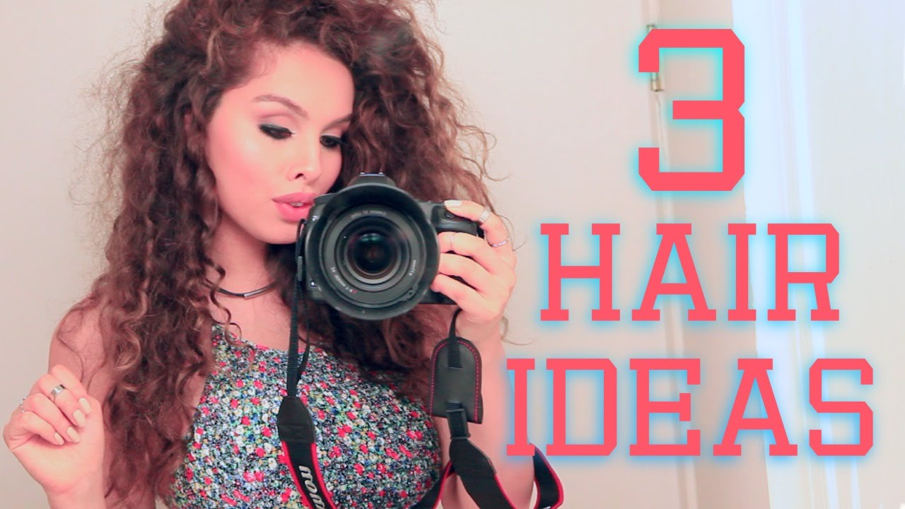 3 Easy Hairstyles For Curly Hair ♡ Youtube