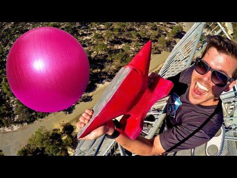 ANVIL Vs. EXERCISE BALL (FULL OF WATER) 45m Drop Test!
