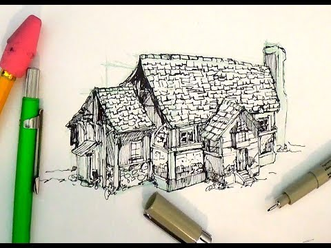 Pen House Drawing Pen And Ink Drawing Tutorials