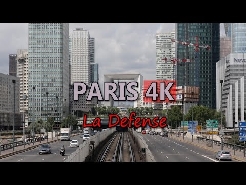 Ultra HD 4K Paris France La Defense Business District Office Towers Travel UHD Video Stock Footage