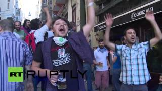 Turkey: Protesters celebrate victory over police with a beer