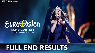 Eurovision 2016 l Final Ranking [FULL END RESULTS]