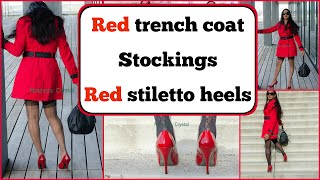Crossdresser - red trench coat in stockings tights and Steve Madden stiletto heels | NatCrys
