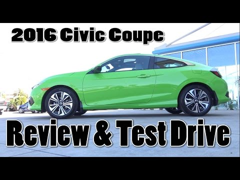 2016 Honda Civic EX-L Coupe Review & Test drive. Energy Green Pearl Color Honda of Santa Maria