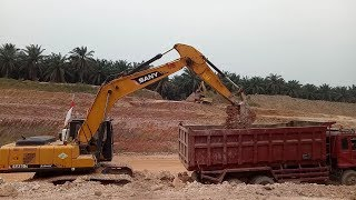Excavator SANY SV215c Working Loading Mud In Truck Hino   Excavator and Truck Video
