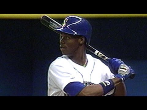 Ken Griffey Jr. hits his first MLB home run