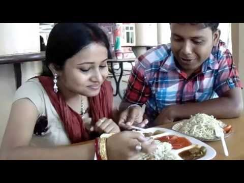 Lovely Couple Eating Chinese And Indian Dish