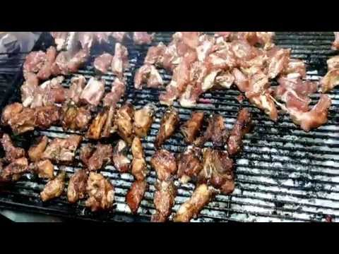 Street food, grilled meat and eggs, Phnom Penh street foods