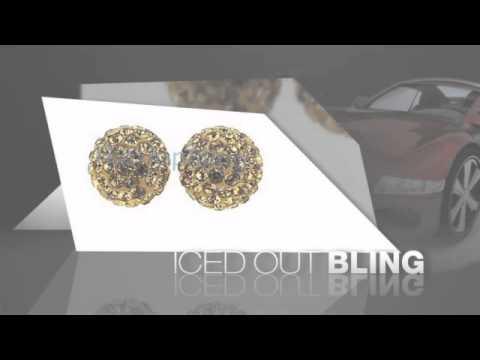10mm Gold Bling Bling Disco Ball Iced Out Earrings