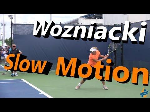 Caroline Wozniacki Slow Motion Forehand & Backhand (Cincinnati 2014)
