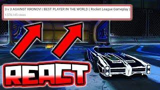 REACTING TO MY 1ST RL VIDEO VS KRONOVI!! ( Rocket League Gameplay )