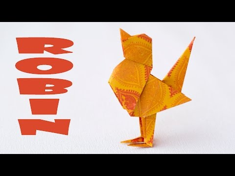 Paper bird making. Origami paper bird. Robin