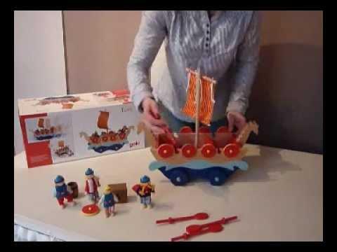Holzspielzeug bemalt neu OVP Goki Ritterburg mit Zugbrücke Holzspielzeug mit 63 Teilen teilw