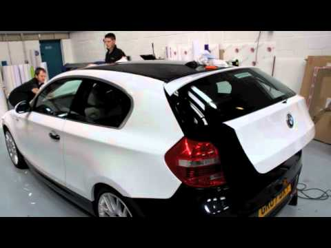 Vehicle Colour Change BMW - Car Wrap Changing the colour of a vehicle in this case a BMW 1 Series car, from dark blue to gloss white. Wrap the vehicle using ...